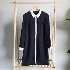 CALVIN KLEIN Black and White Button Up Dress